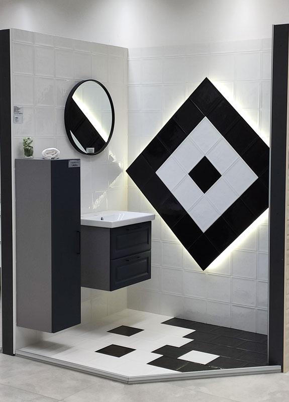 22.3 x 22.3 Shiny White 90065 / Shiny Black 90066 – Keramičke kupaonske pločice